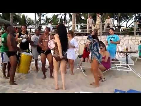 Hot Brazilian girl dancing sexy samba on the beach HD