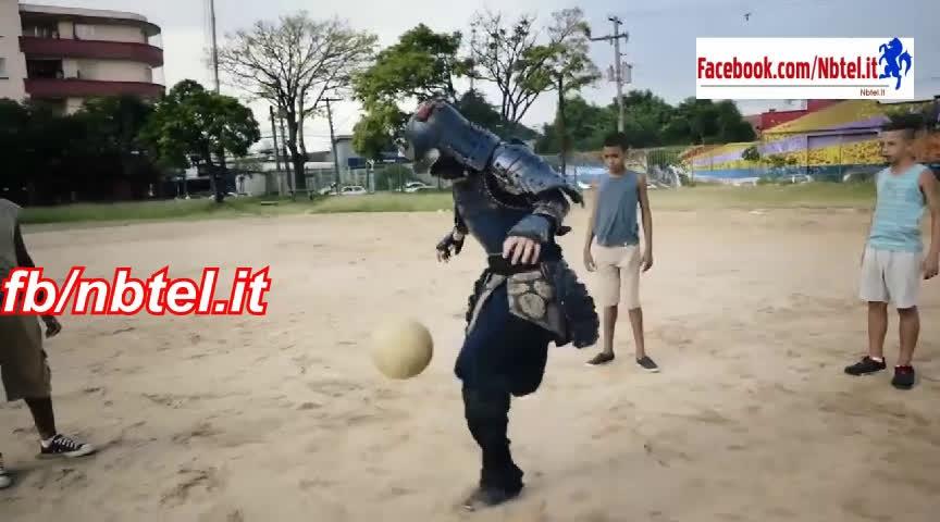 Samurai Plays Soccer In Brazil