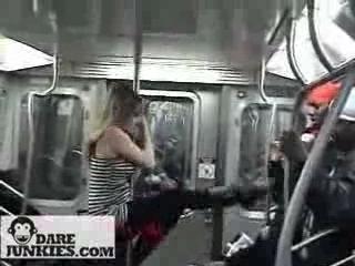 Sexy Pole Dance Girls in NYC Subway
